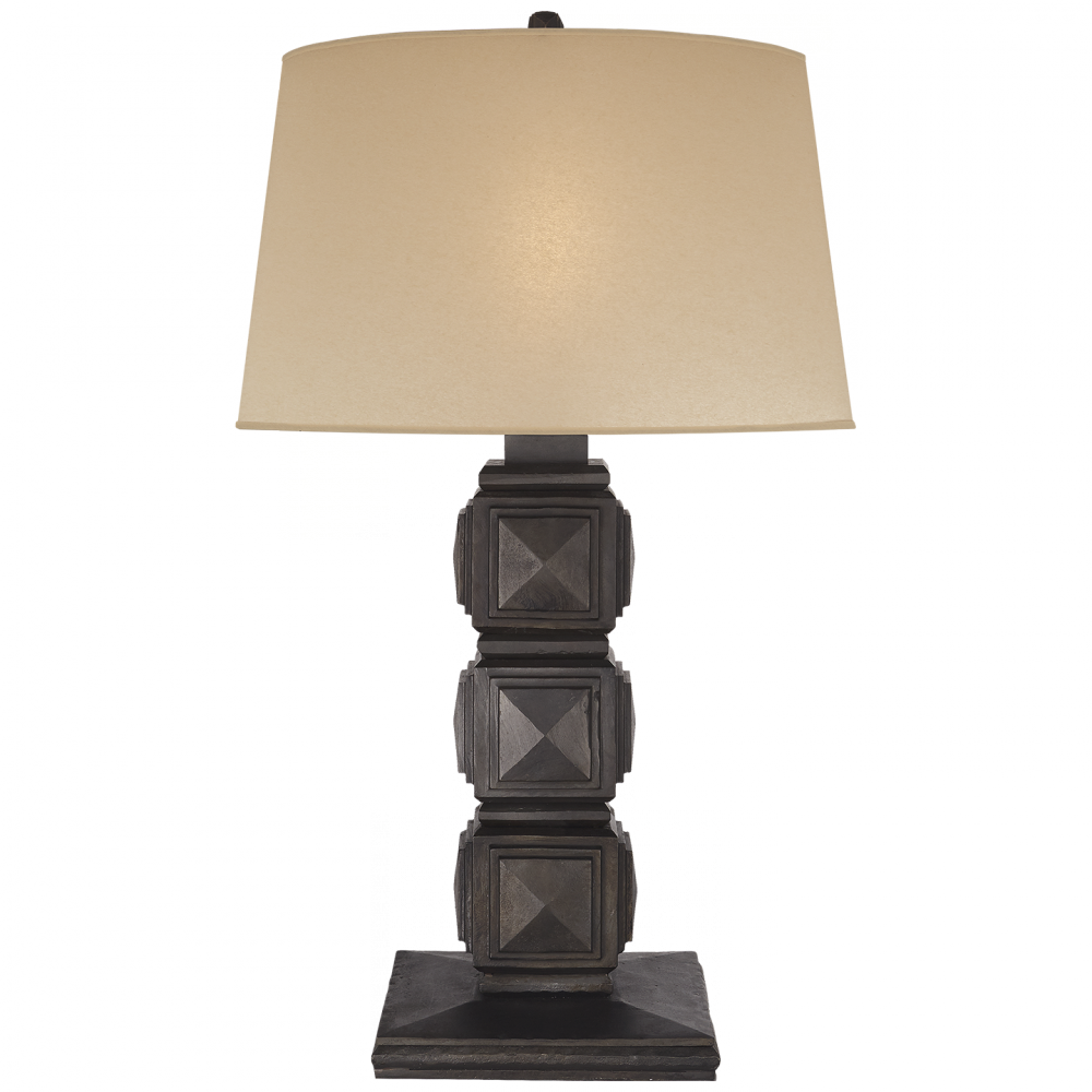Barlow Table Lamp In Aged Iron With Faux Drum Sk Rl 3722ai