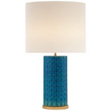 Visual Comfort ARN 3013BWV-L - Eliot Table Lamp in Blue Wave with Linen Shade