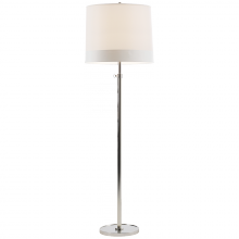 Visual Comfort BBL 1023SS-S2 - Simple Floor Lamp in Soft Silver with Silk Bande