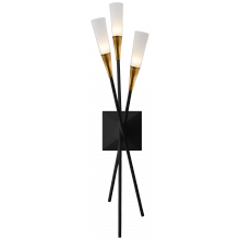 Visual Comfort CHD 2602BLK - Stellar Triple Tail Sconce in Matte Black and An