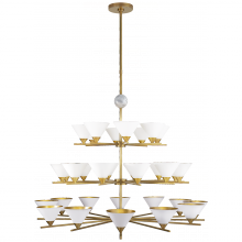 Visual Comfort KW 5513AB/WM-WHT - Cleo Three-Tier Chandelier in Antique-Burnished